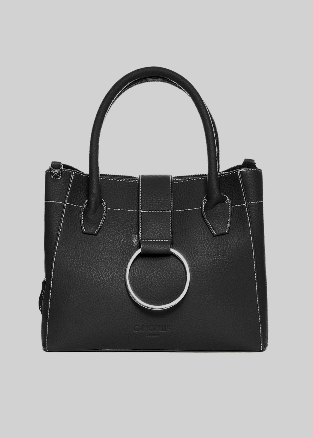 Bailey bag in faux leather with shoulder strap and metal ring closure - Black - Woman - Category image