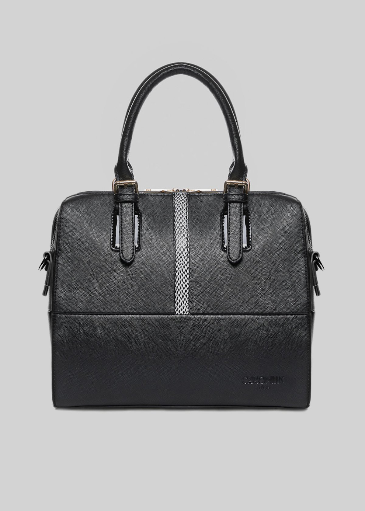 Bloody bag with patent inserts, python and removable chain shoulder strap - Black