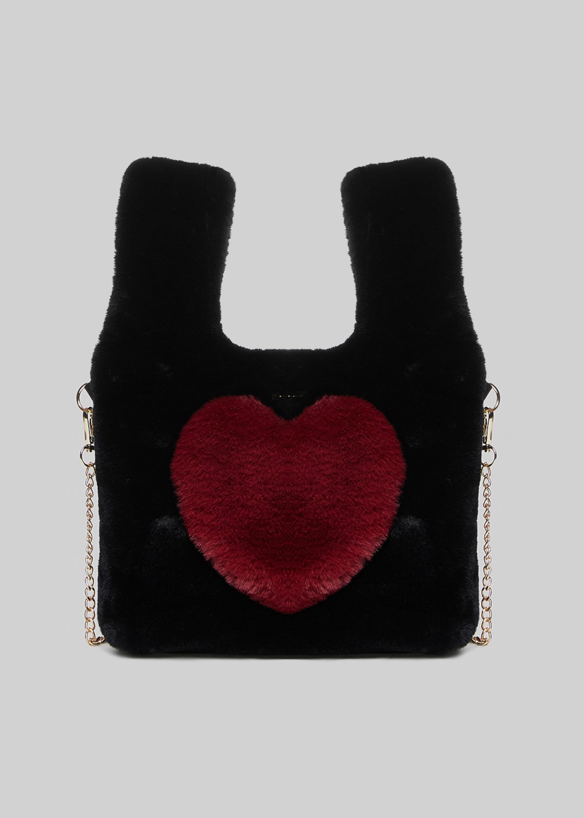 Balla ecofur bag  with heart detail in chili color - Black / Chili - Woman - Category image