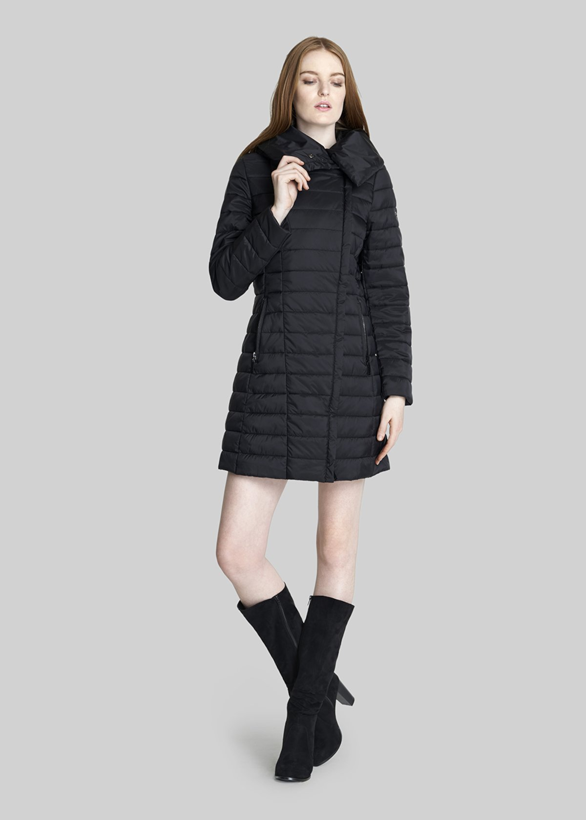 Pedro long down jacket with hood and asymmetrical zip closure