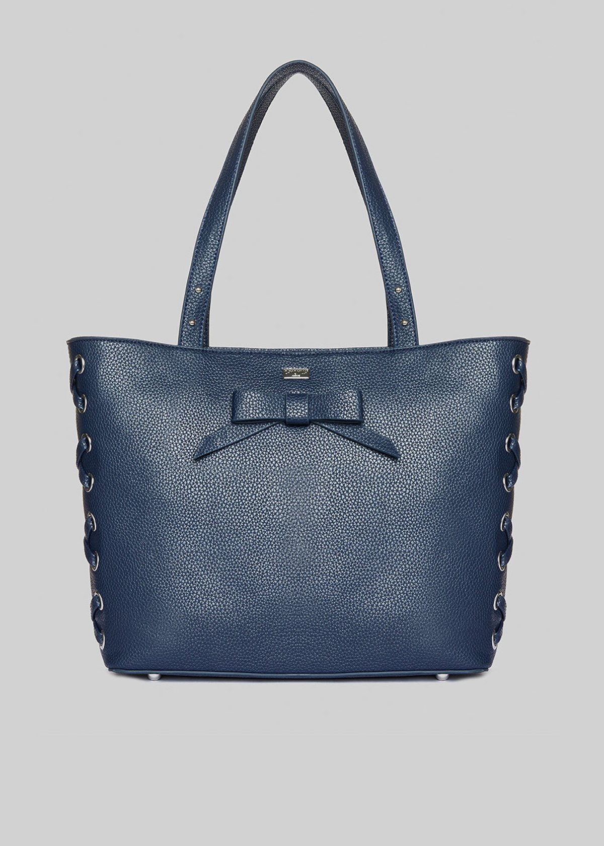 Shopping bag Bessy in ecopelle e nastrino in velluto - Dark Blue