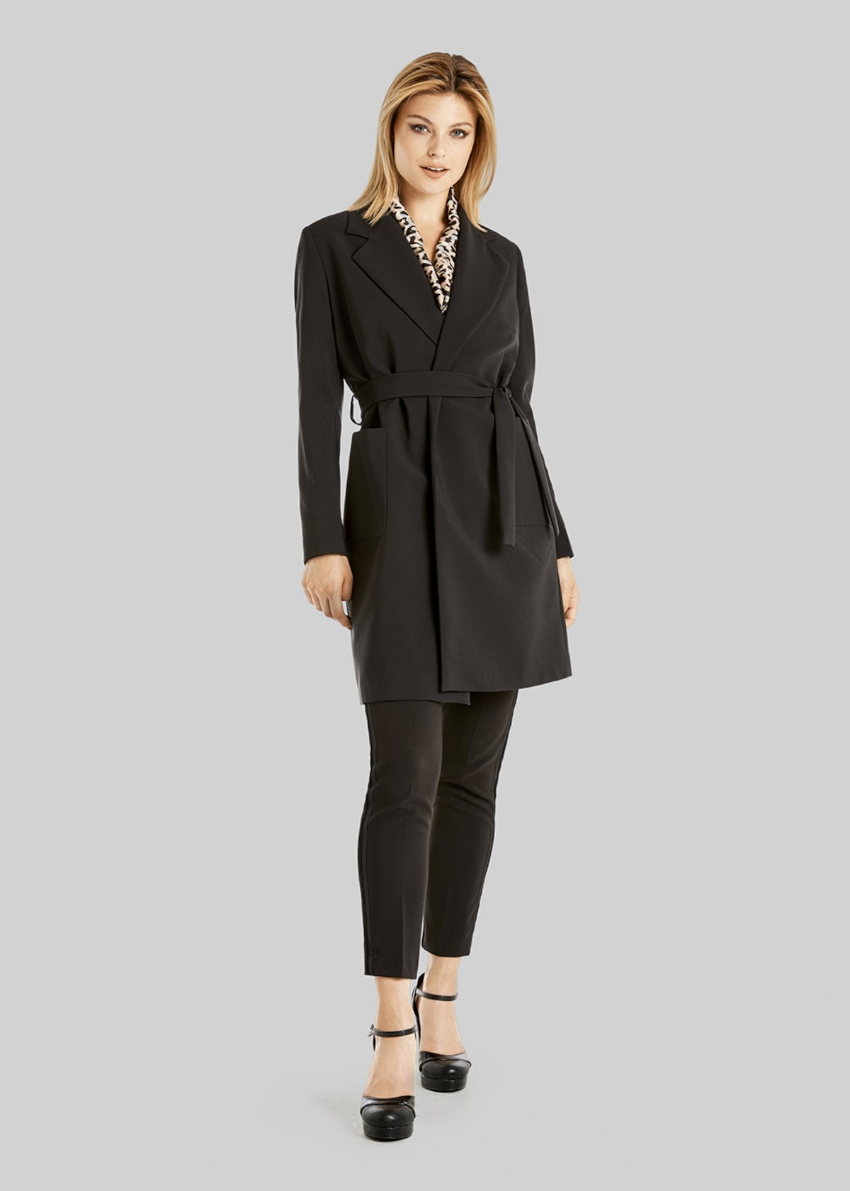 Tiger trench coat in technical fabric with lapels - Black - Woman - Category image