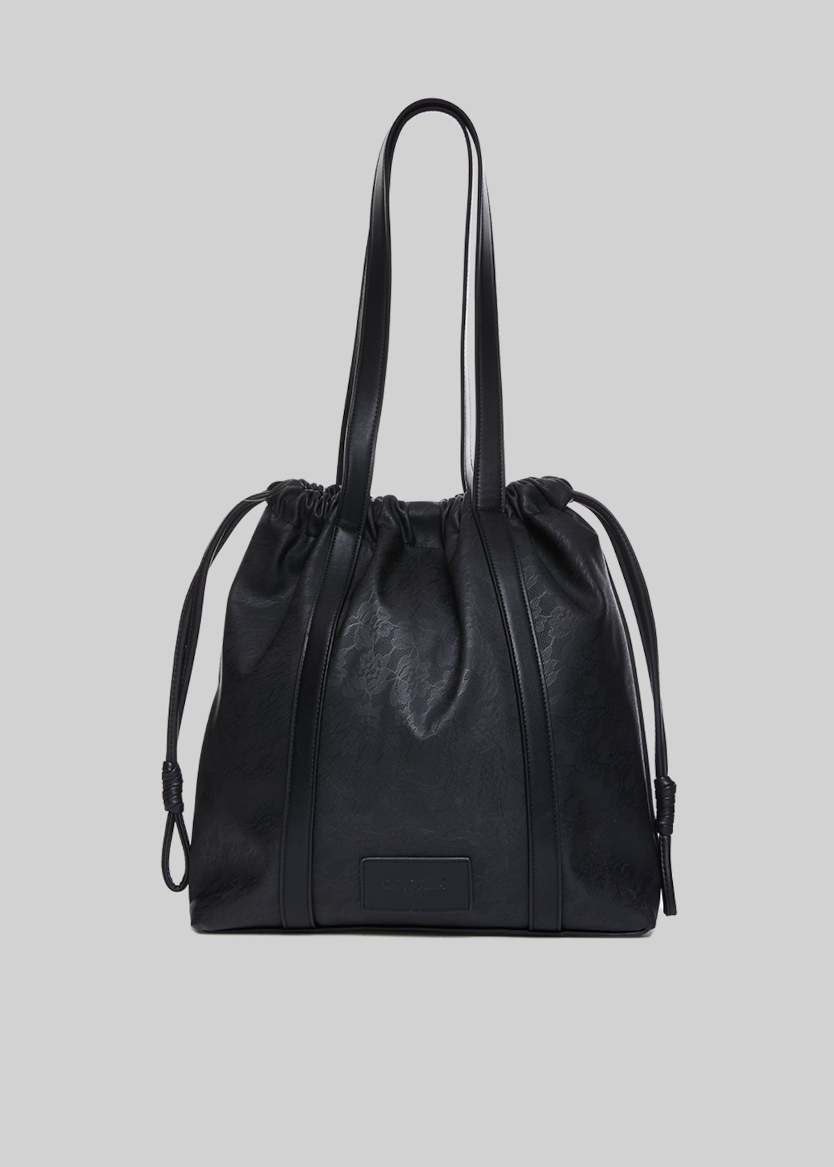Borsa Binnie in ecopelle con coulisse - Black