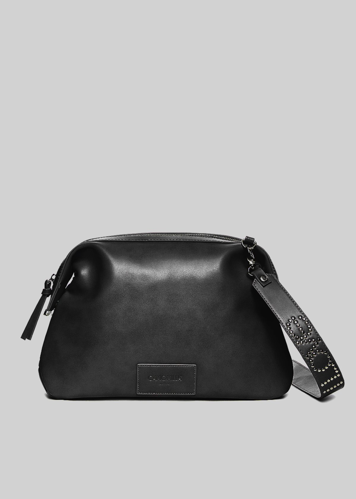 Broke faux leather handle bag with logoed shoulder strap