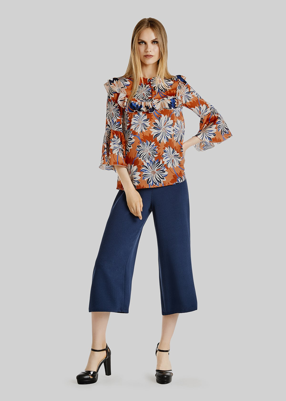 Carina blouse floral fantasy - Lobster / Lapis Fantasia - Woman - Category image