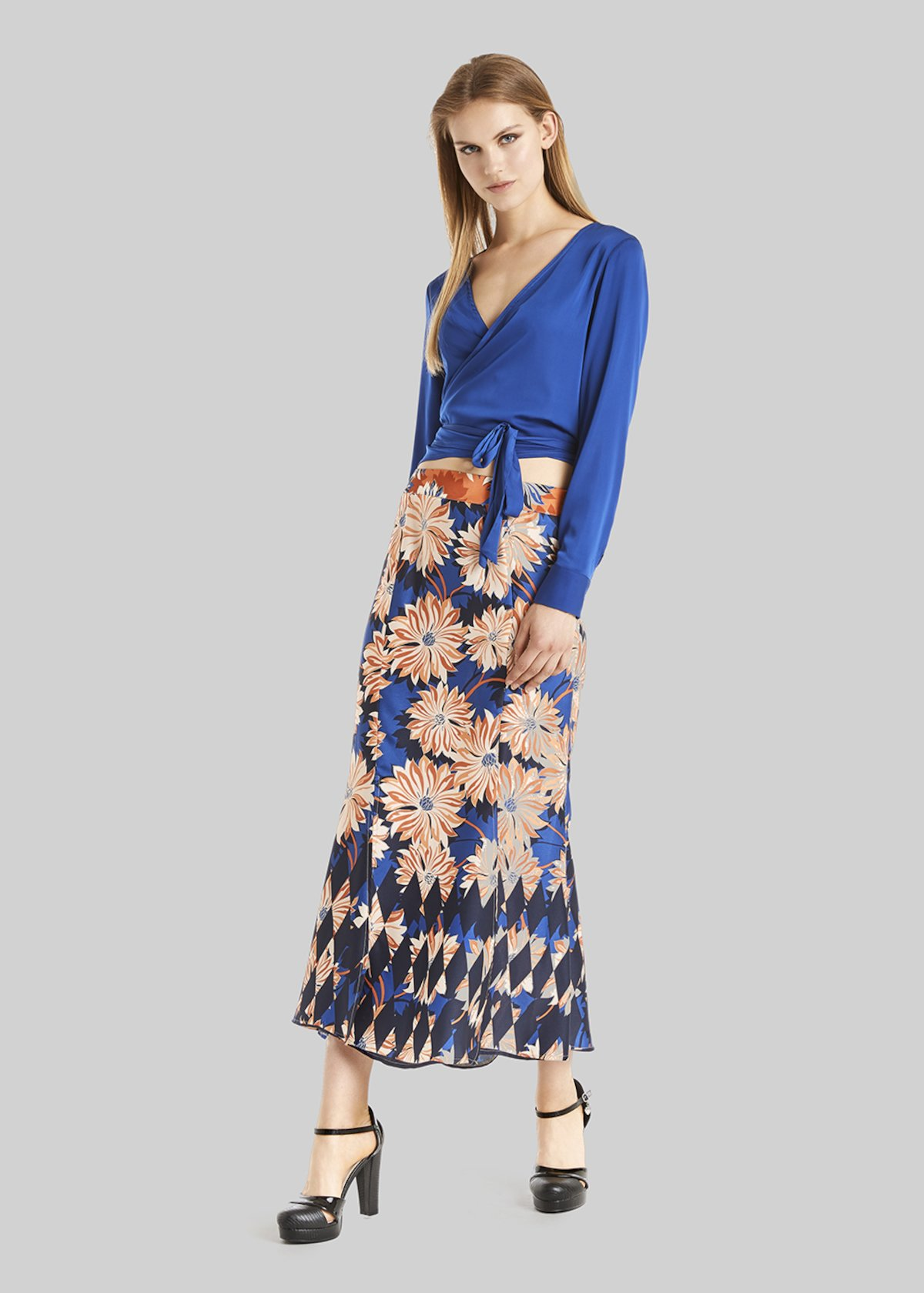 Gemma long skirt floral fantasy - Lobster / Lapis Fantasia - Woman - Category image
