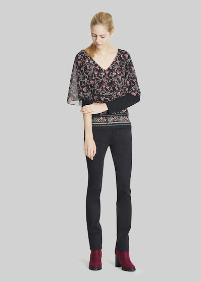 Samy t-shirt in jersey and georgette with a floral pattern