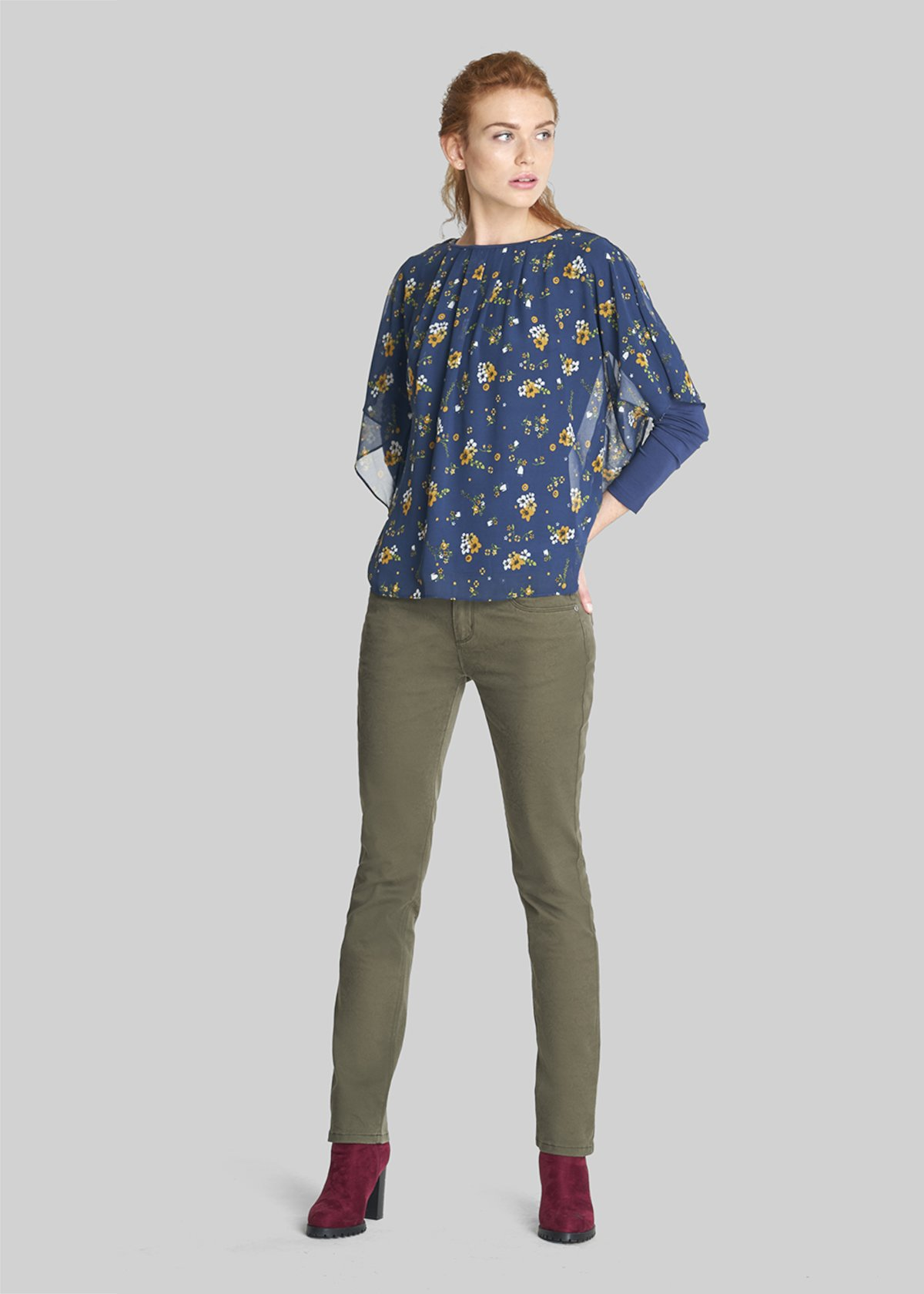 Susanna t-shirt jersey and georgette with micro-floral pattern - Avion / Curry Fantasia