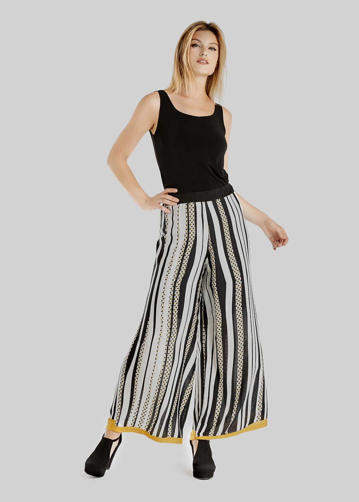 Pantaloni Payper in crepe halfmoon stripes fantasy - White / Black Stripes