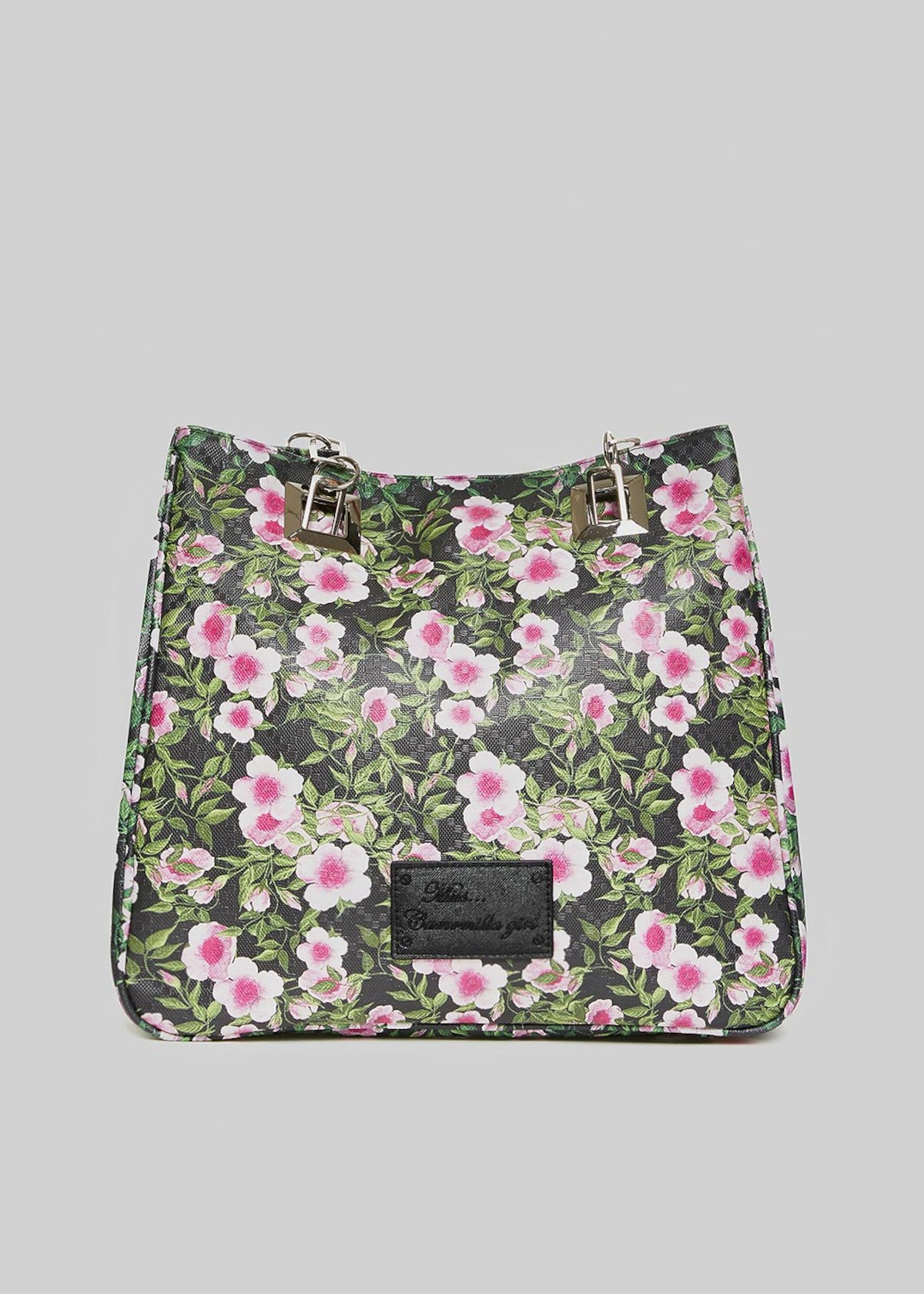 Mmissflo4 shopping bag in faux leather flowers print - Black Fantasia