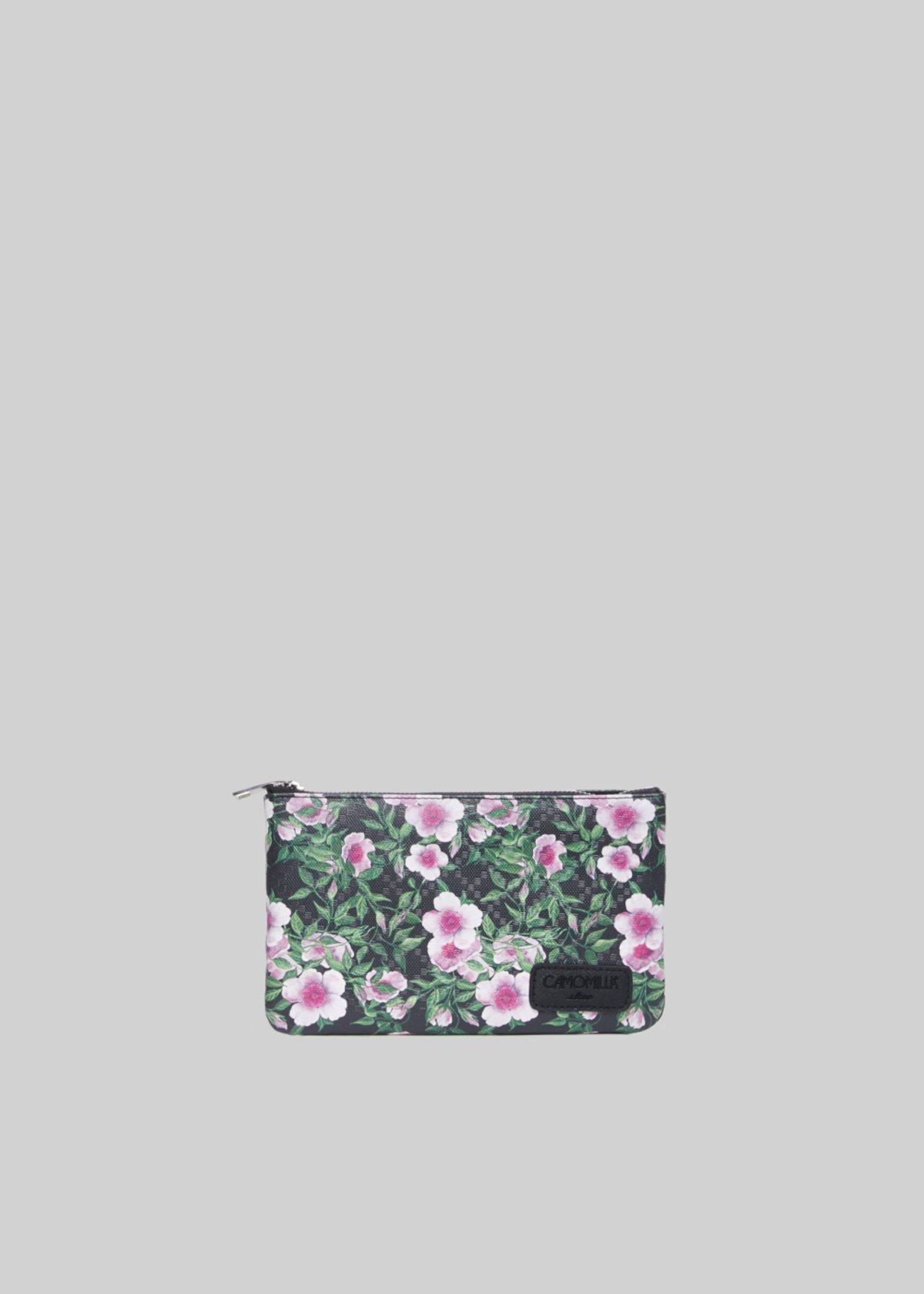 Pochette Tongaflo4 in ecopelle pink flowers print - Black Fantasia