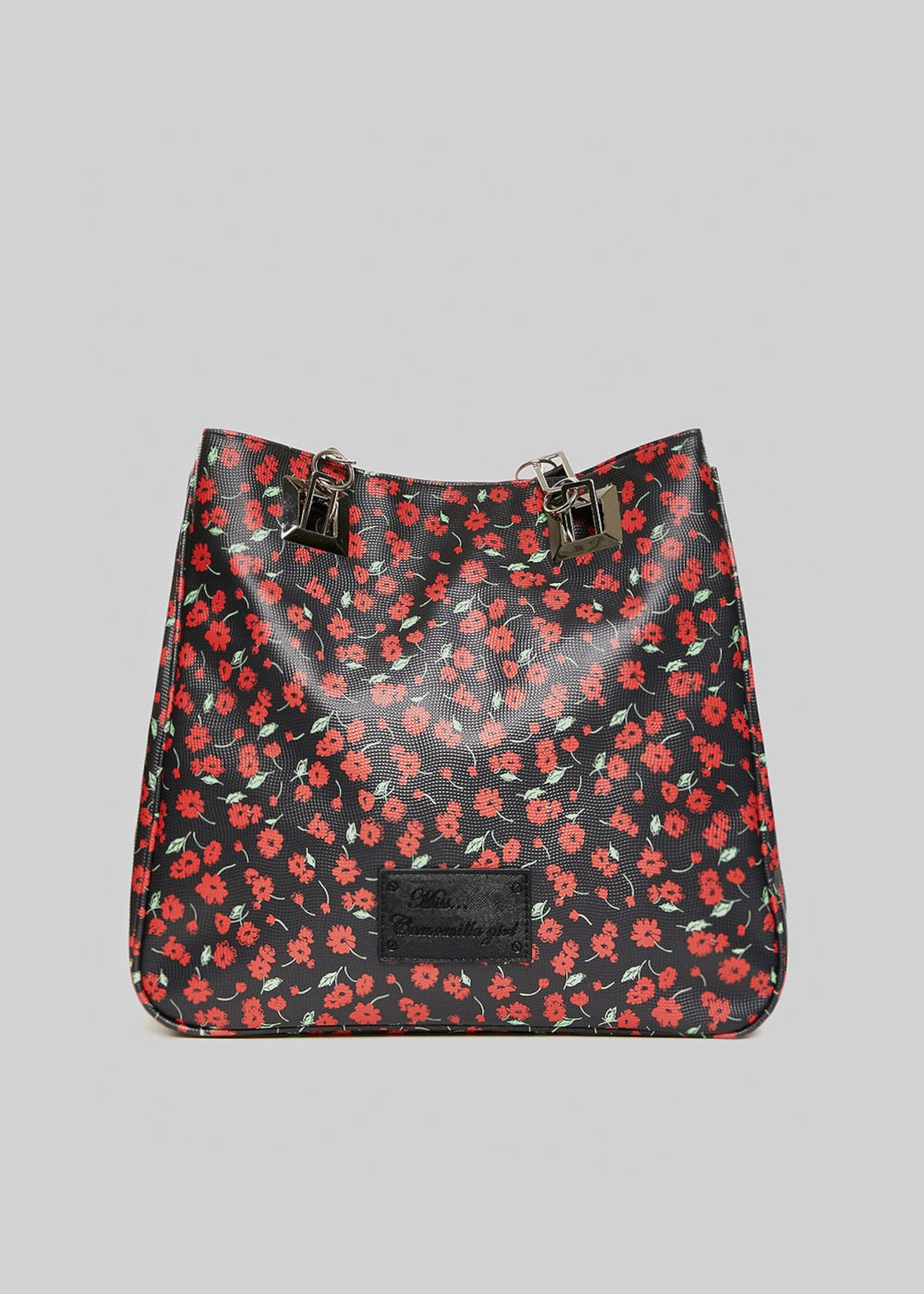 Mmissflo2 flowers print shopping bag with double handles - Black Fantasia