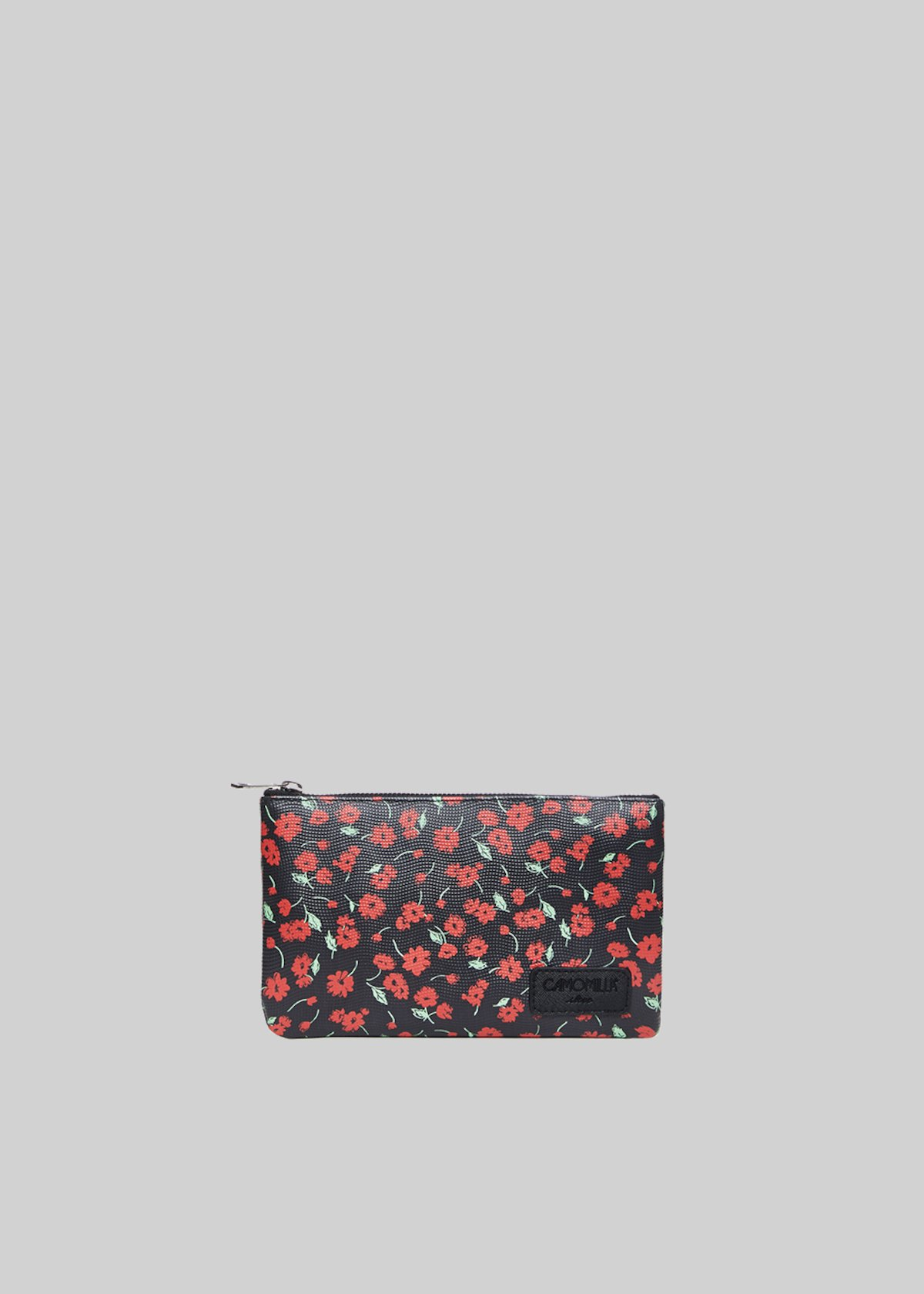 Tongaflo2 clutch bag in faux leather flowers print - Black Fantasia