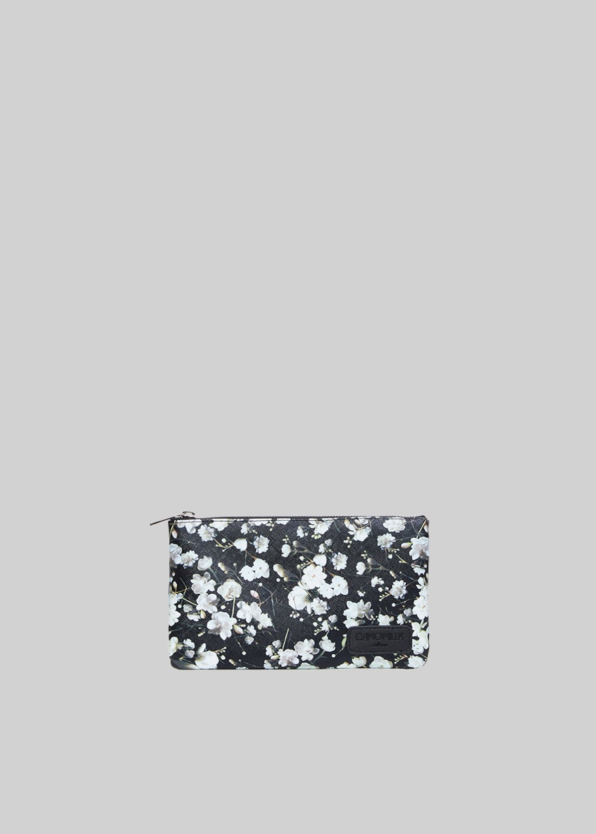 Pochette Tongaflo3 in faux leather peach flowers print with shoulder strap - Black Fantasia