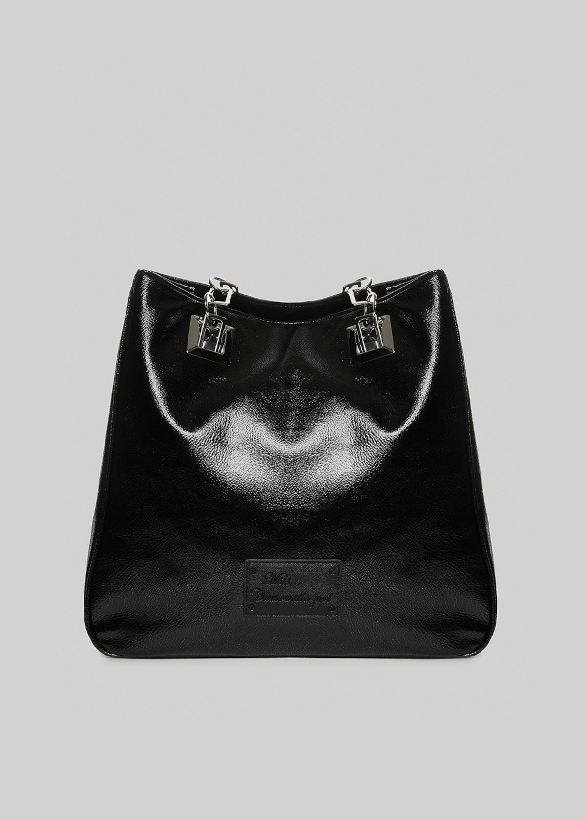 Mmissmeta shopping bag in faux leather total black metal - Black Metal - Woman - Category image