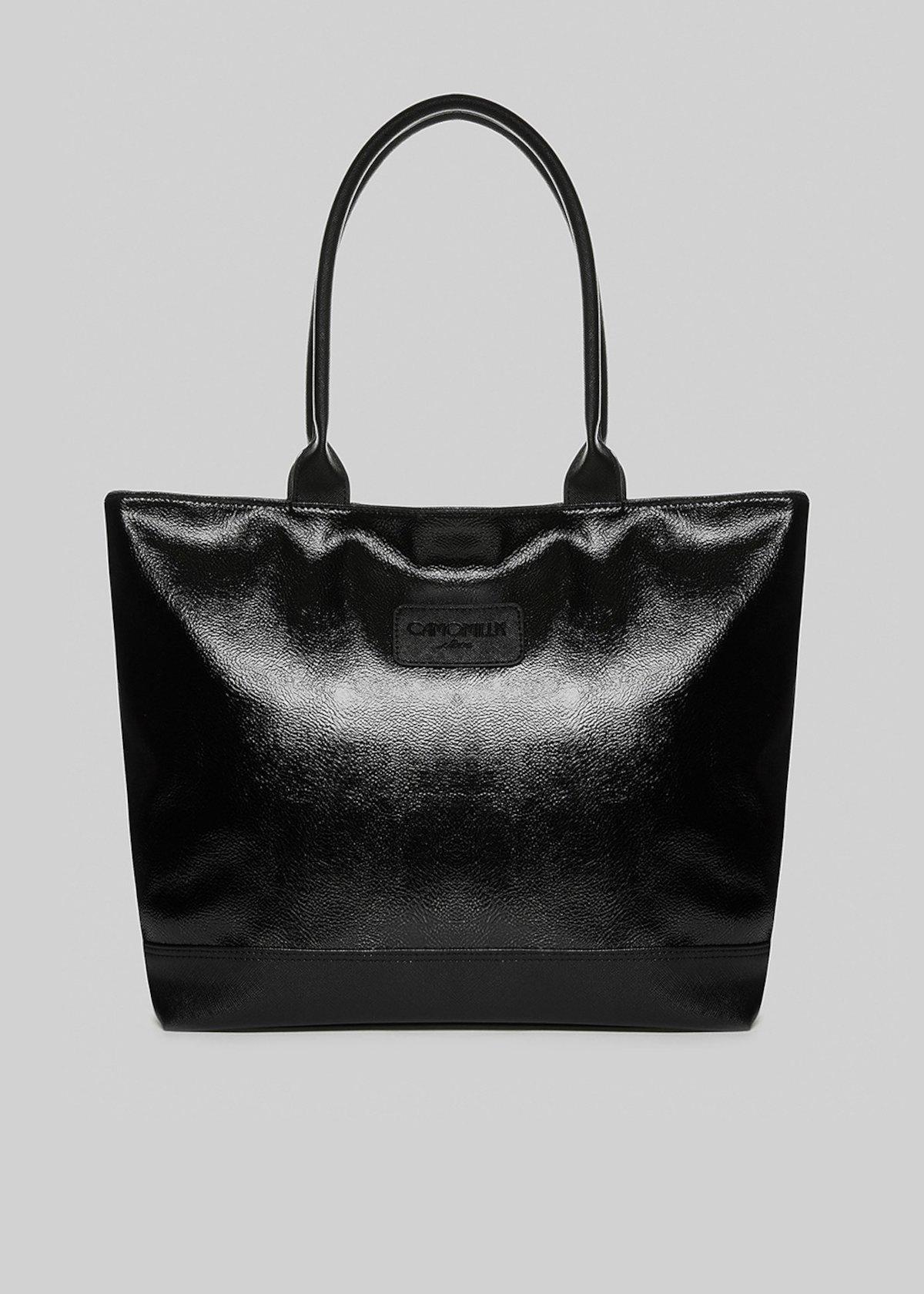 Trendmeta shopping bag with saffiano faux leather details - Black Metal