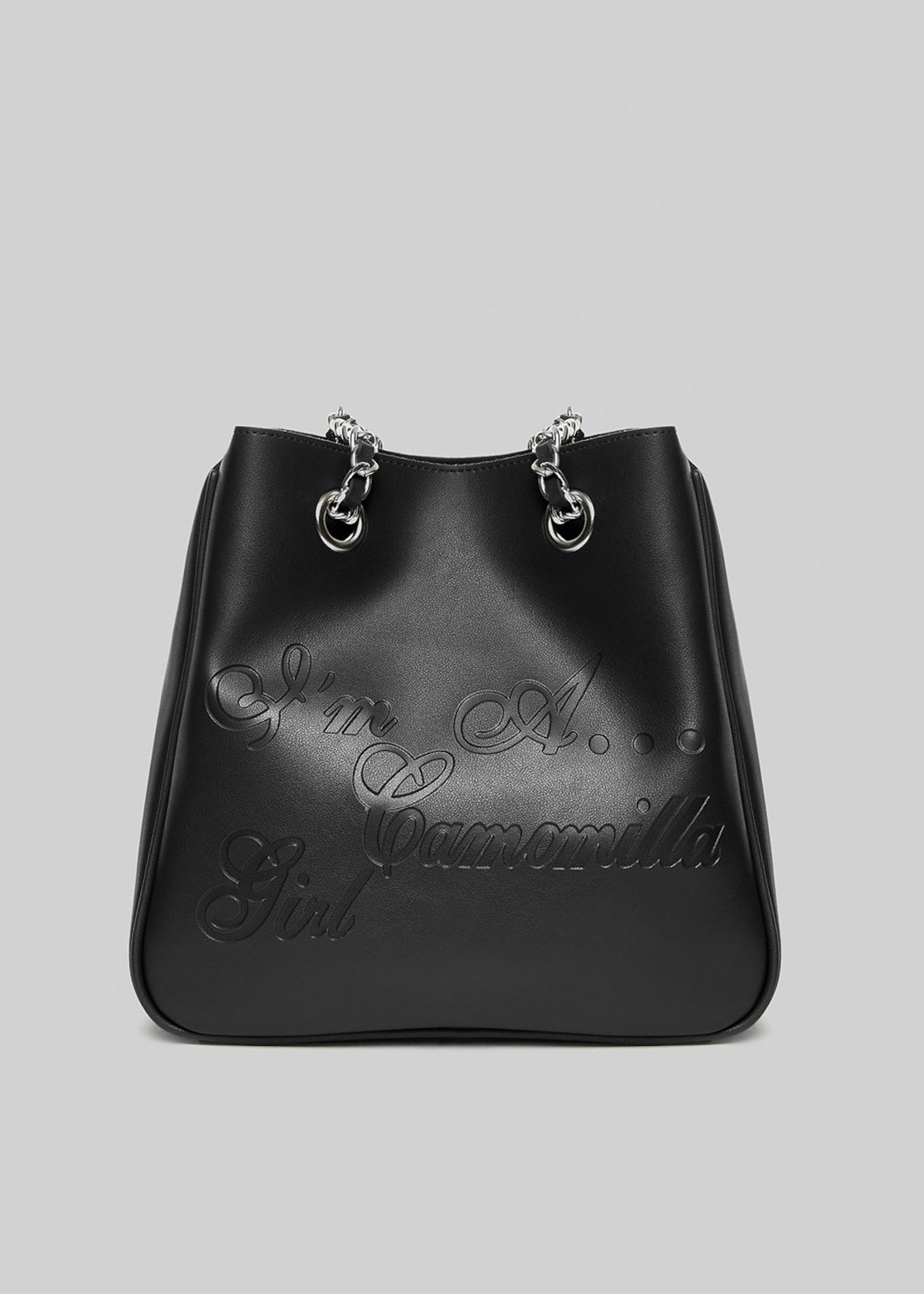 Shopping bag Mincamunl in ecopelle con manici a catena - Black