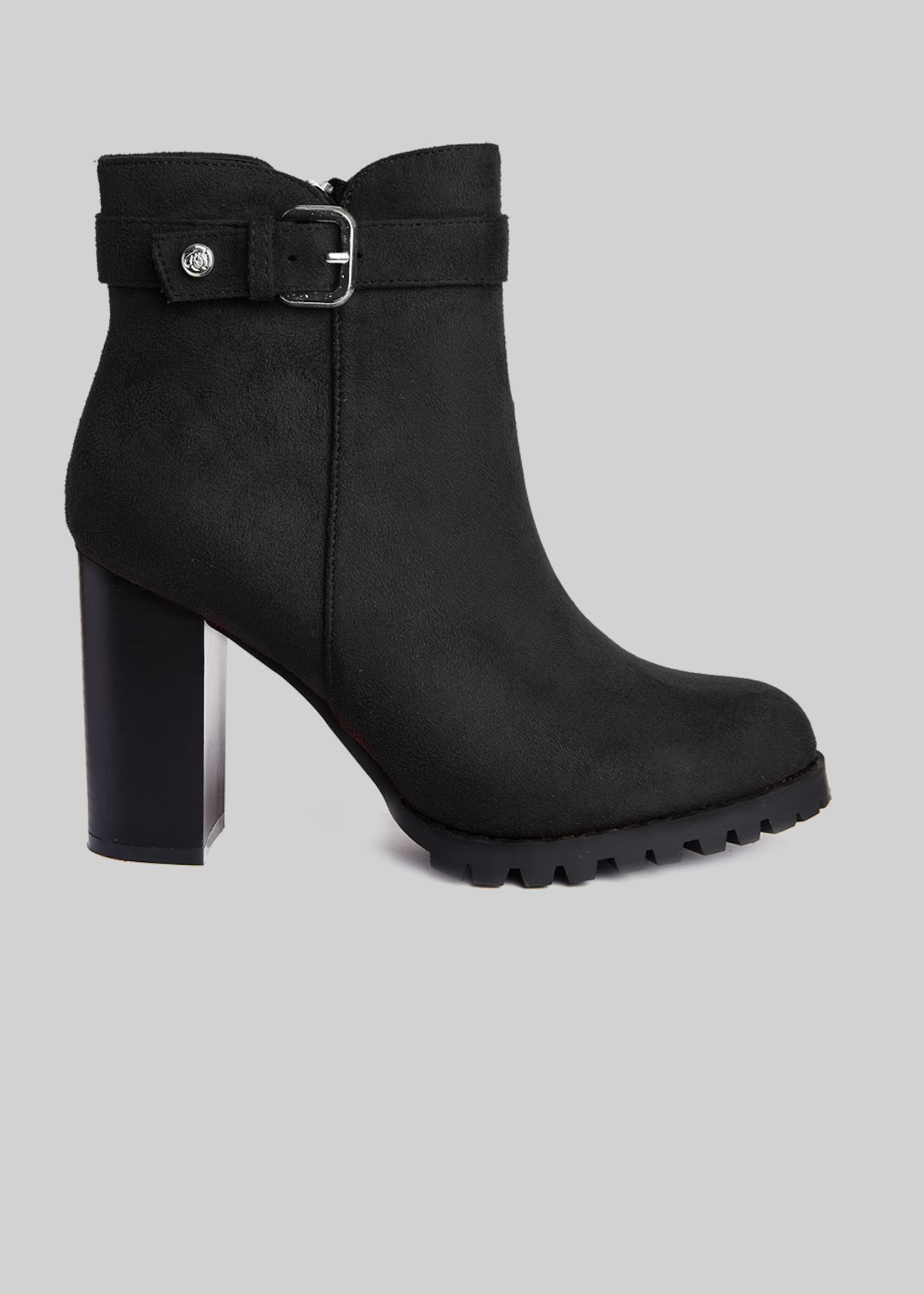 Shoma imitation Suede Ankle Boots with black heel - Black