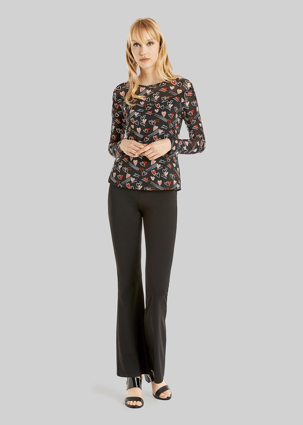 Pantaloni Parides in scuba crepe modello zampa - Black