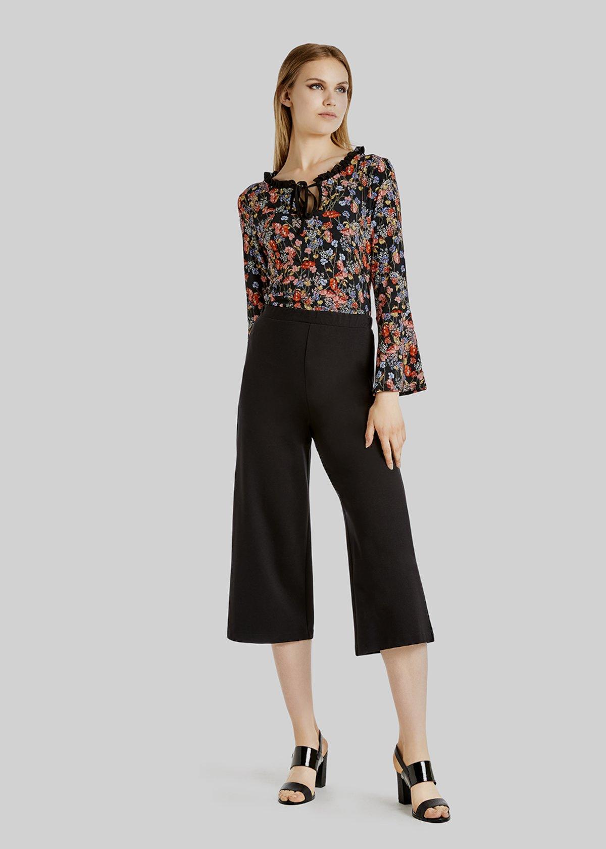 Pantaloni Plinios in crepe modello palazzo - Black