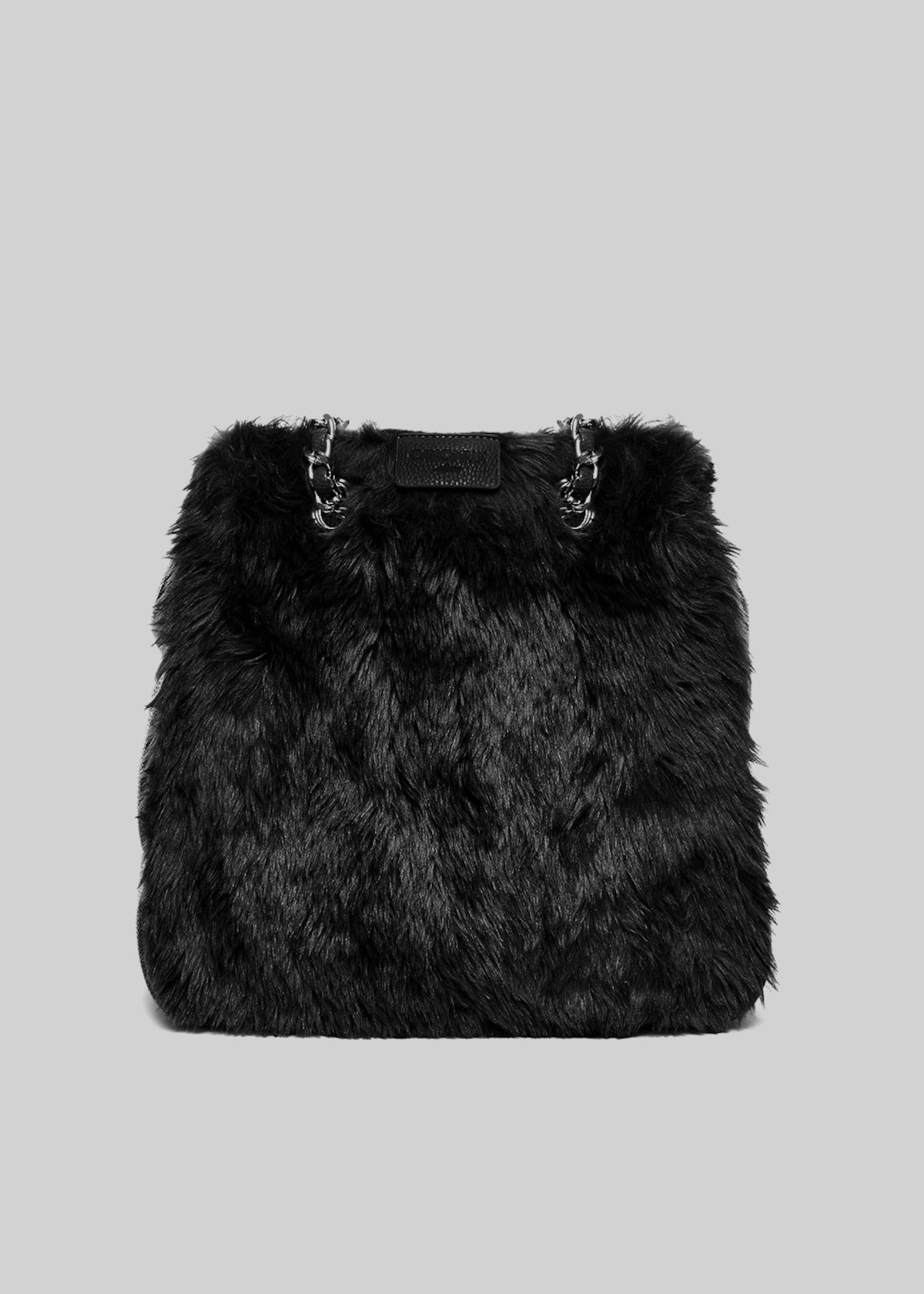 Blond shopping bag with faux fur and faux leather effect - Black