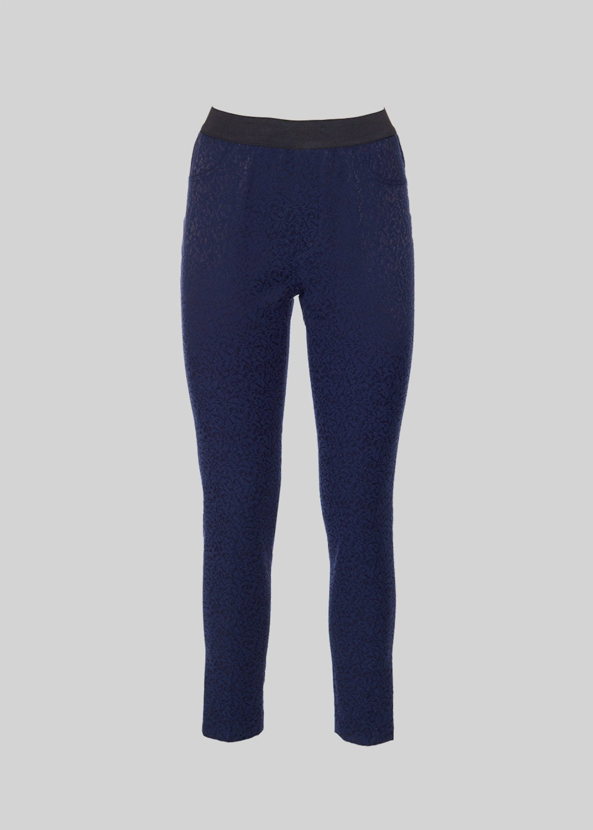 Pantaloni Paride jeggings in tessuto damascato - Black / Medium Blue