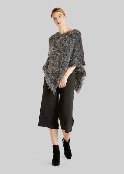 Marielle Lurex effect knit poncho