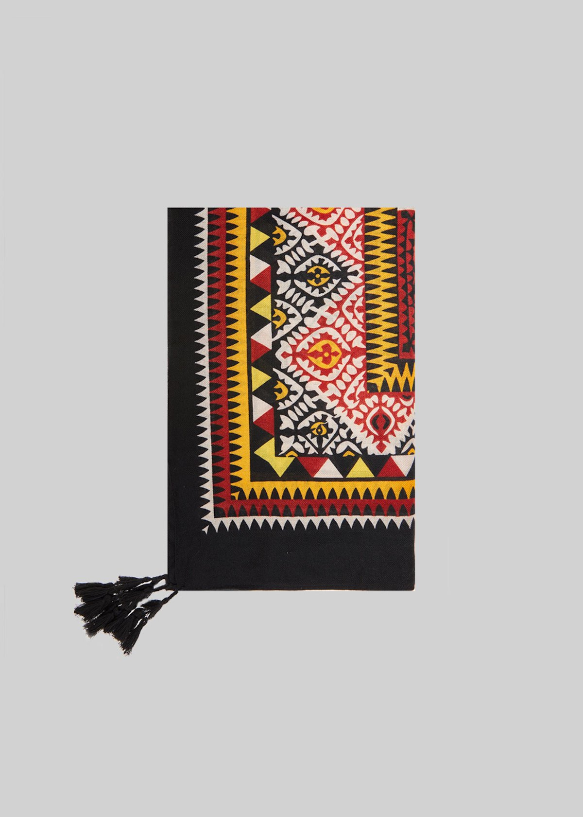 Shary scarf geometric pattern and tassels