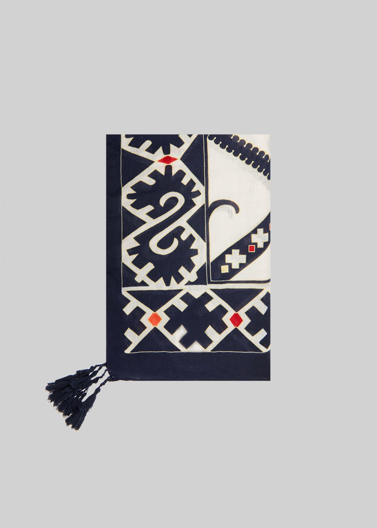 Smoky scarf printed with decorative tassels