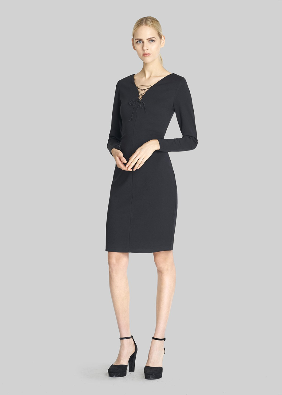 Alyson dress with criss-cross neckline detail - Black