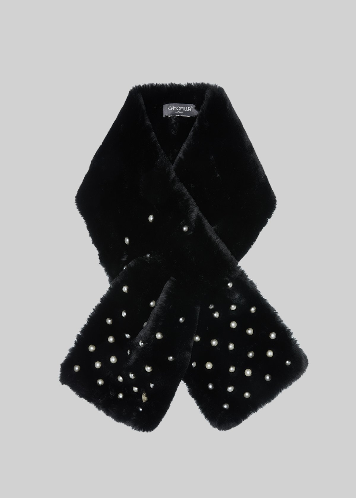 Sanny scarf in fake fur with white pearls detail - Black
