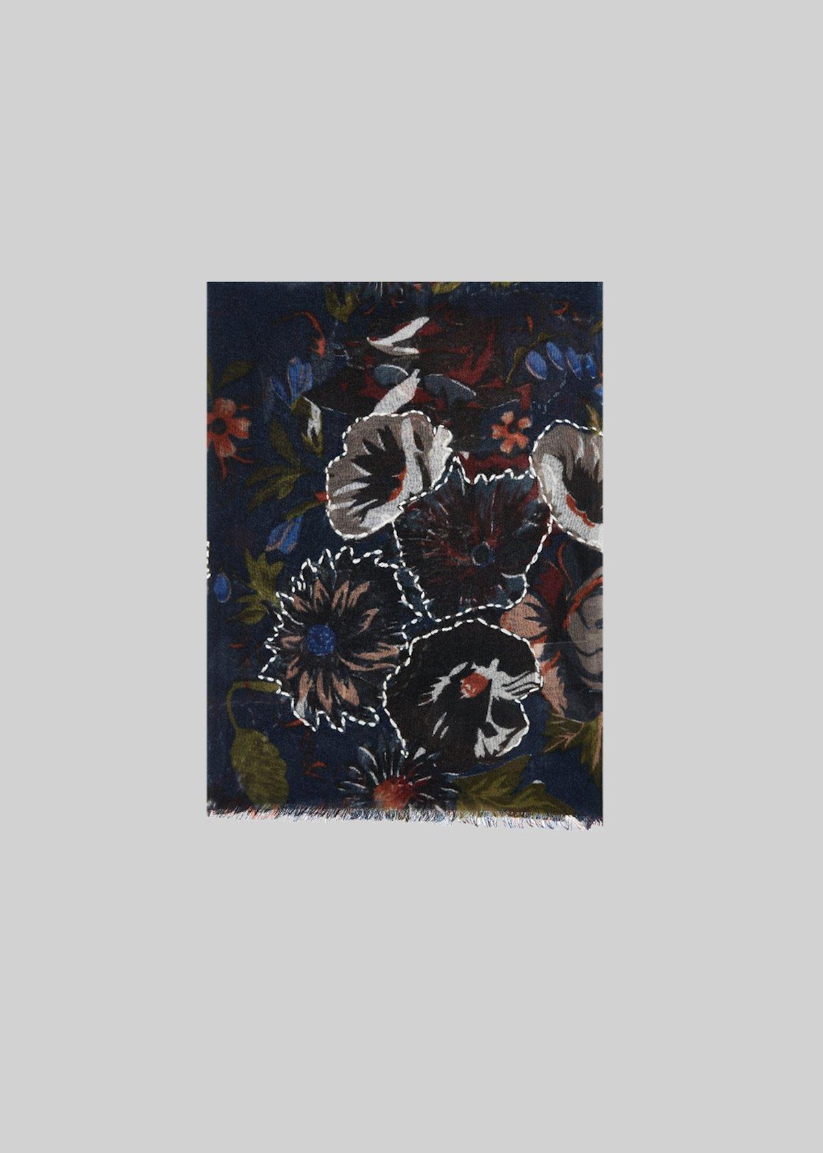 Sily scarf in flower fantasy wool - Medium Blue Fantasia