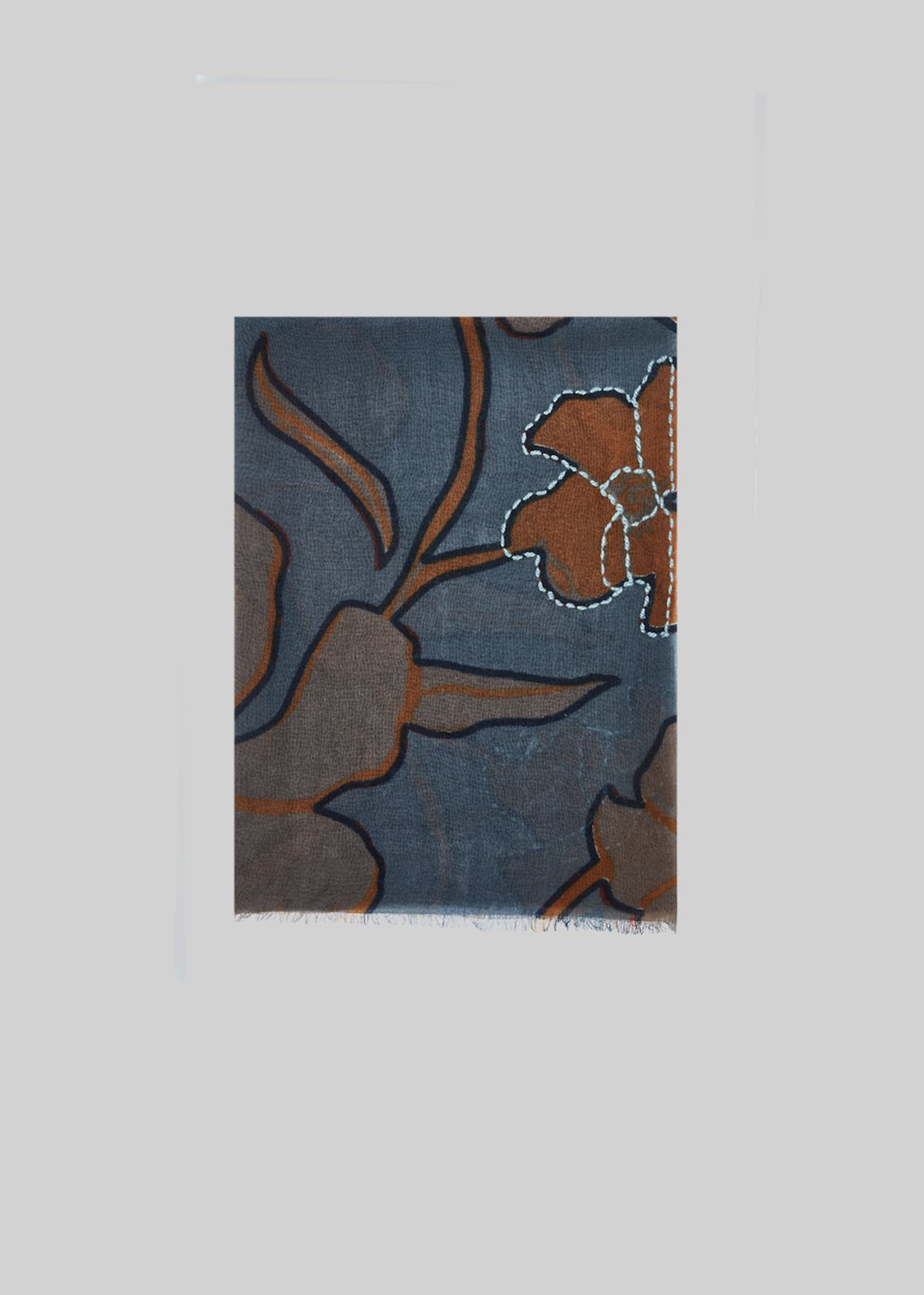 Symbol scarf in wool with floral print - Mercury / Curry Fantasia