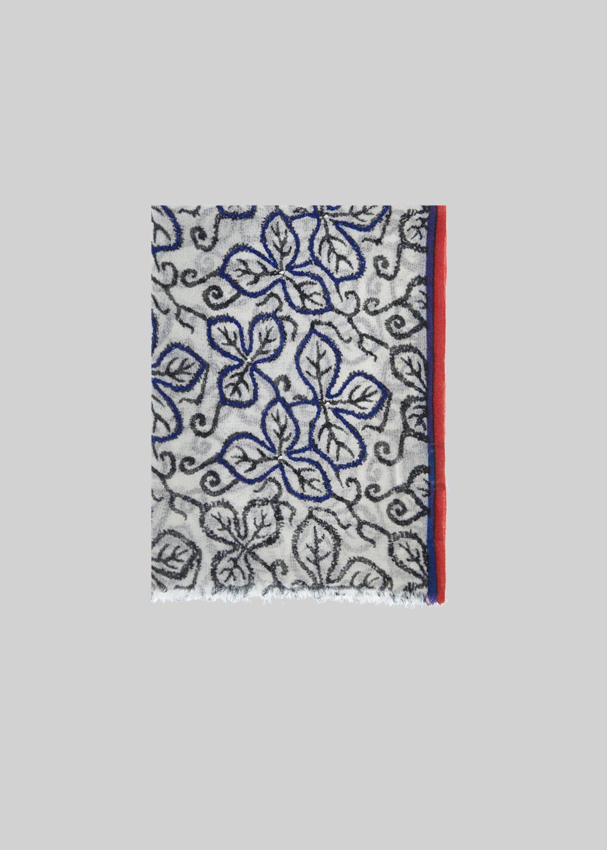 Smile wool scarf fantasy leaves - White / Black Fantasia