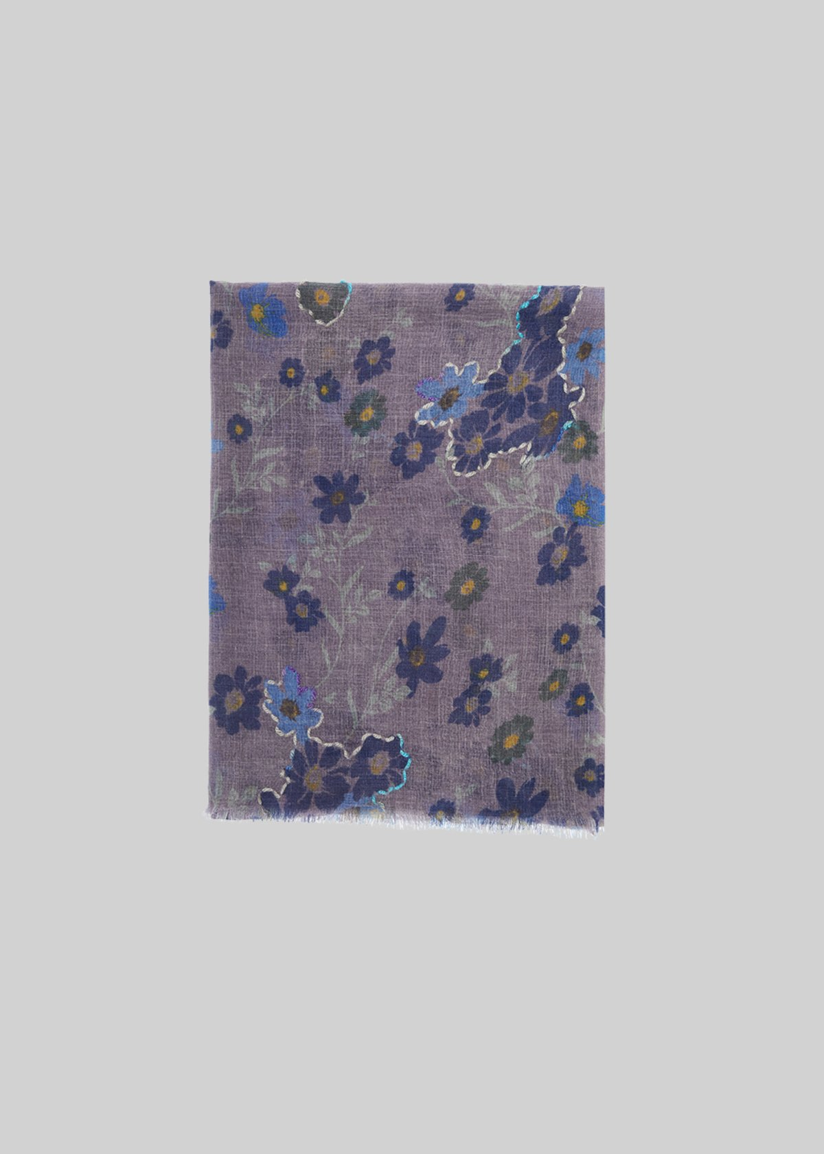 Simmy scarf in wool with a micro-floral pattern - Octopus Fantasia