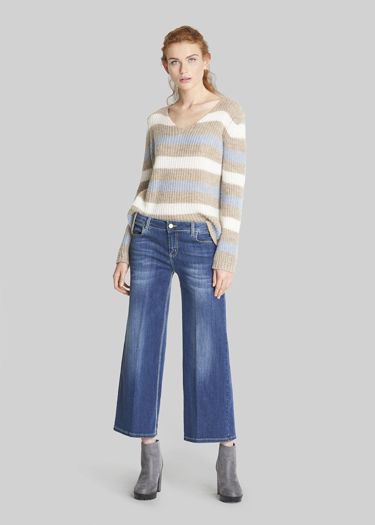 Martina sweater with multi-stripes print - Fog / Nomad Stripes - Woman - Category image