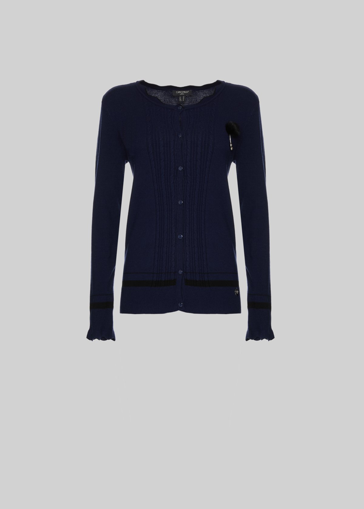 Cammy Cardigan with button closure - Medium Blue / Black / Stripes