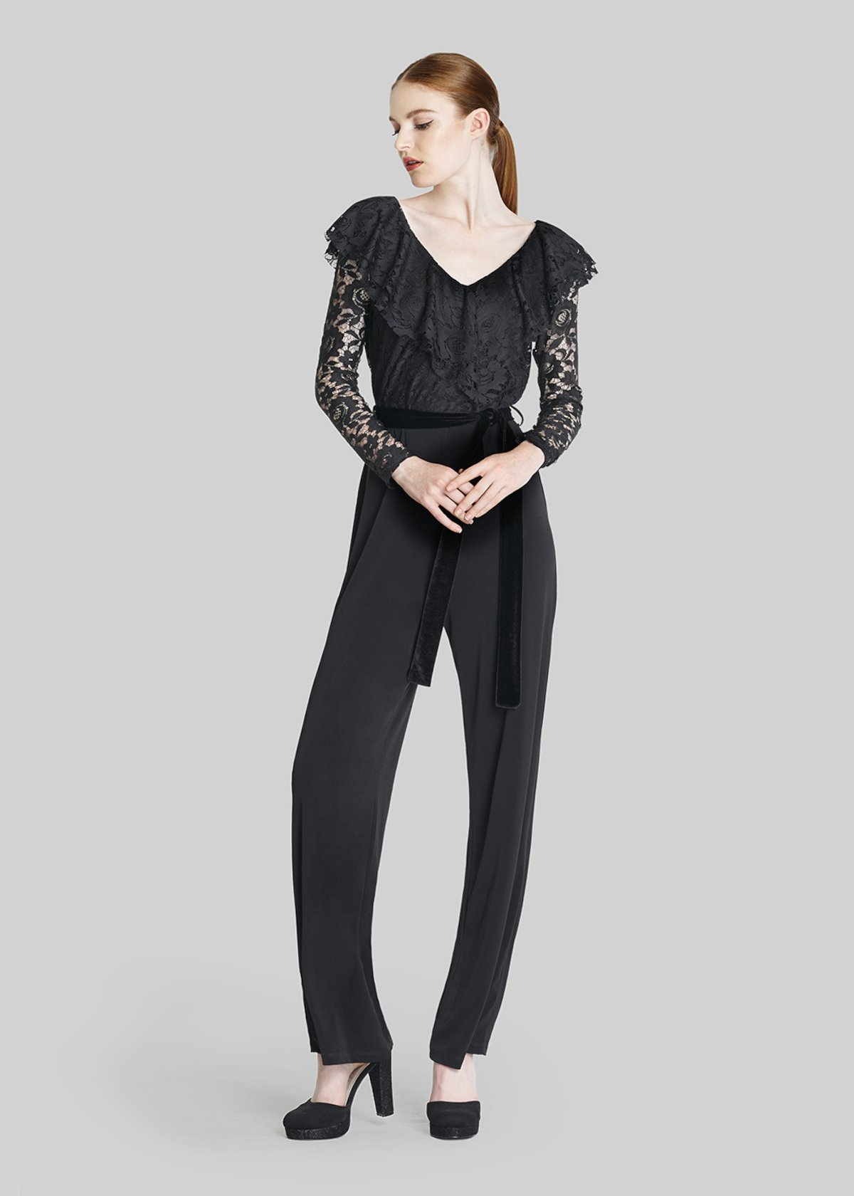 Timoty jersey jumpsuit with macro ruffles and velvet belt - Black