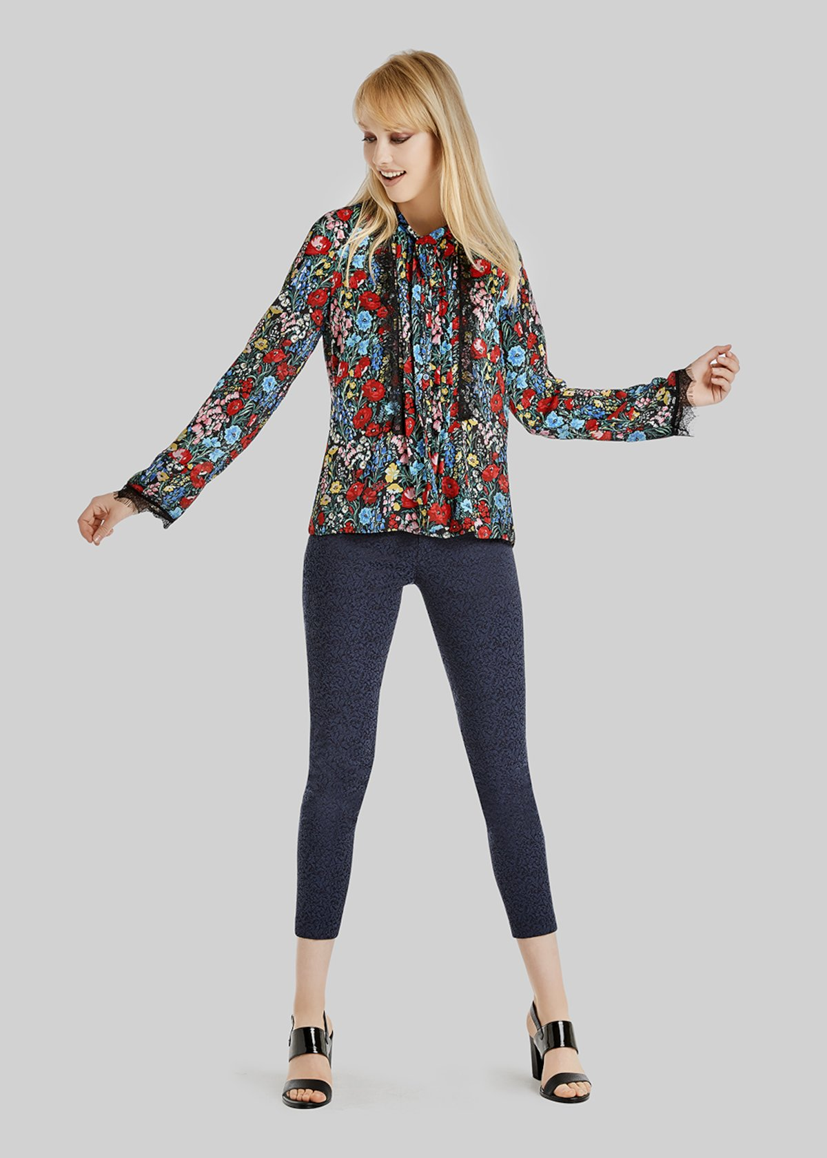 Caroline georgette blouse with wonderland pattern