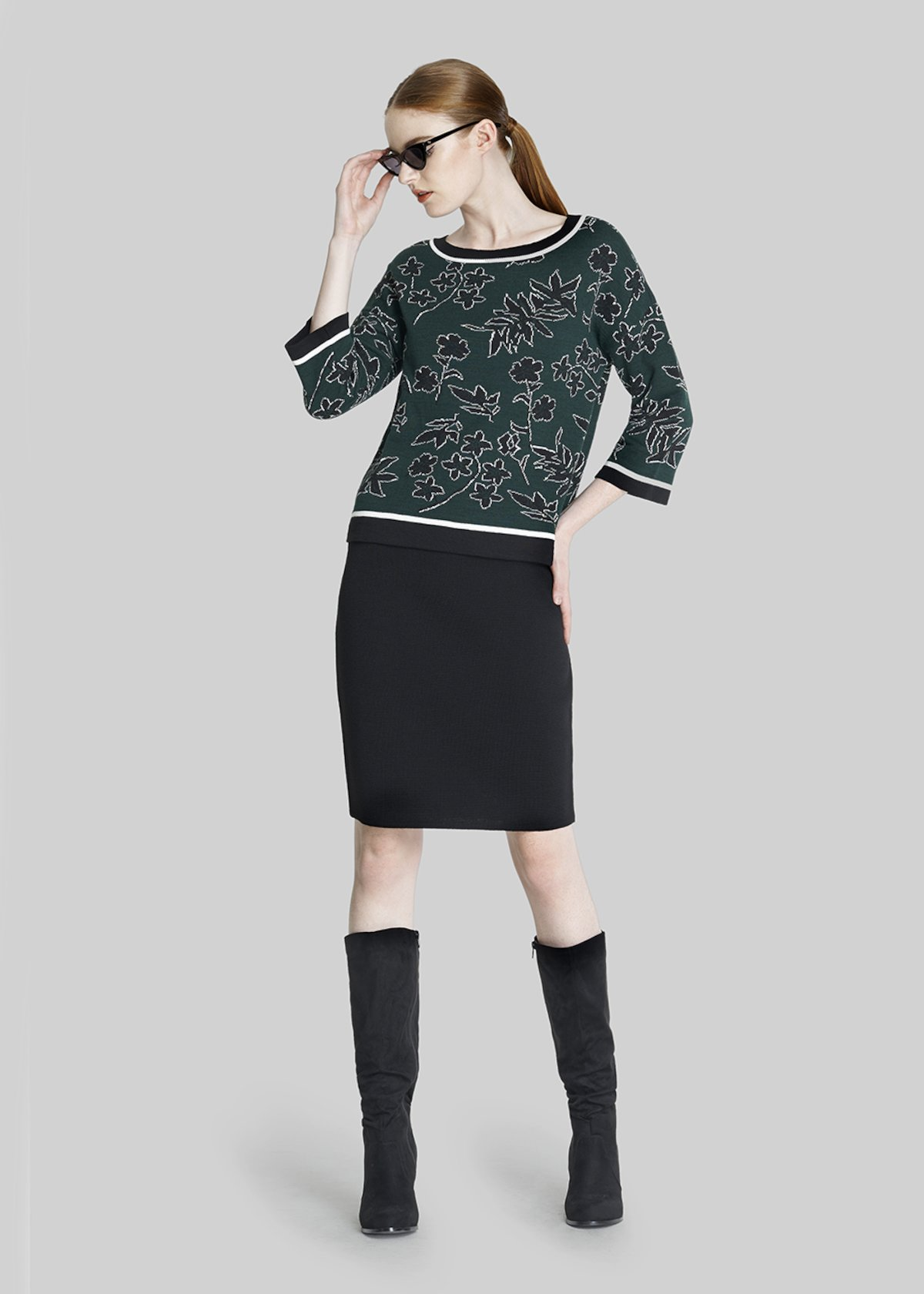 Mady 3/4 sleeve sweater - Pino / Black / Fantasia - Woman - Category image