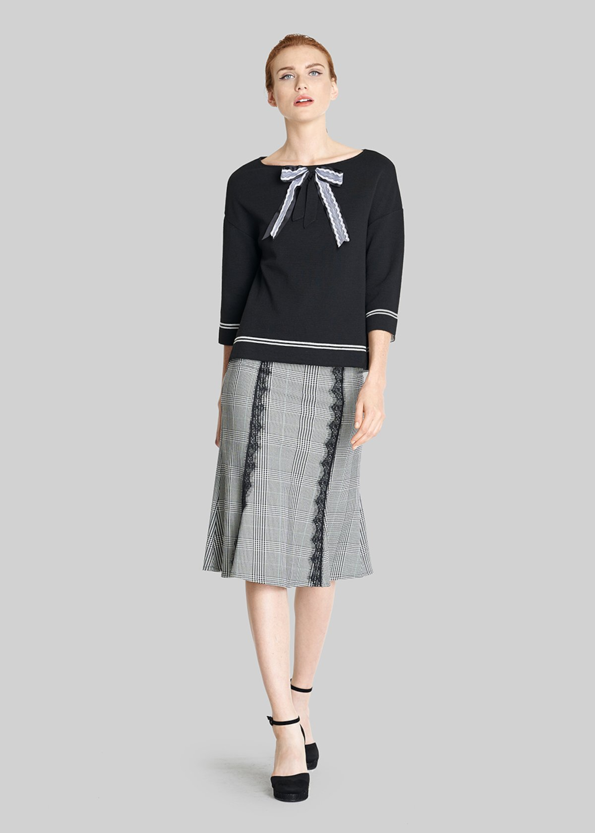 Marily grosgrain bow detail sweater - Black White Fantasia - Woman - Category image