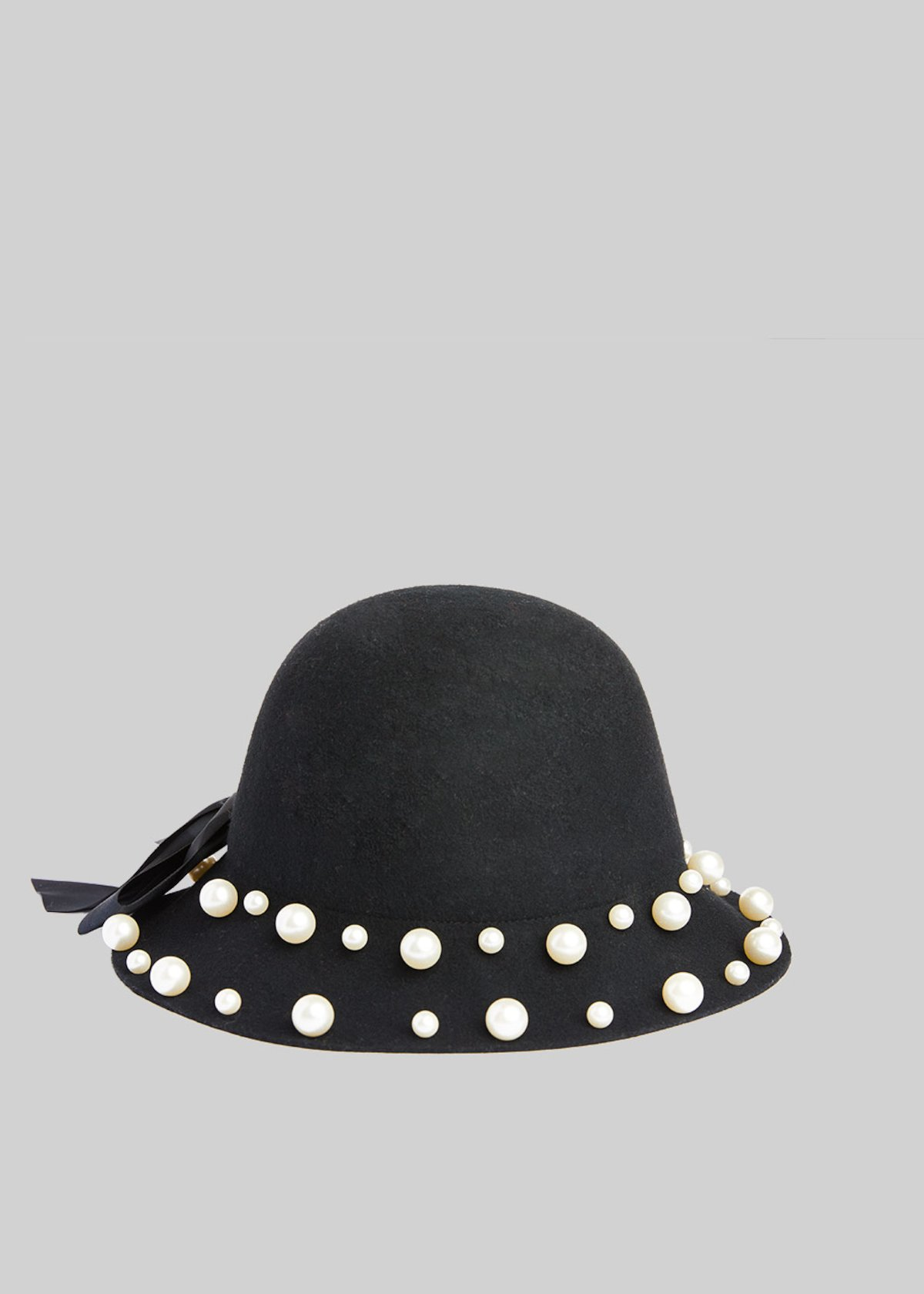 Cool wool hat with pearls detail - Black