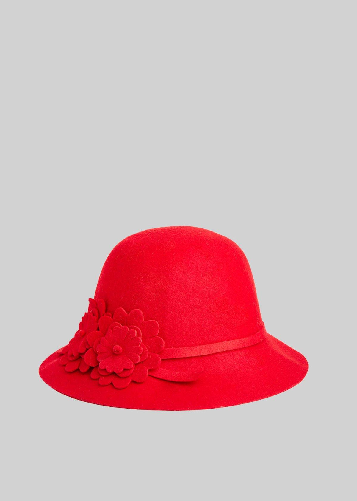 Cappello Cyber in lana con dettaglio flower