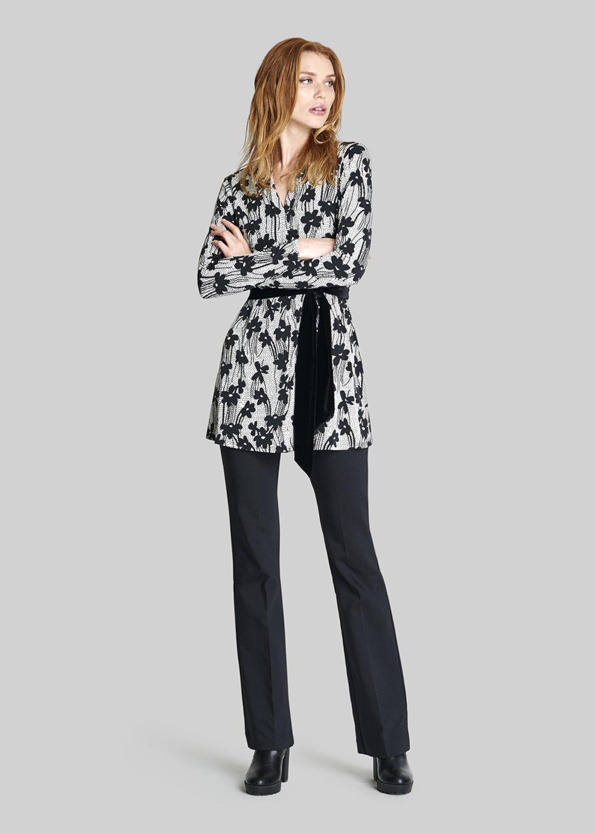 Shila Long jersey t-shirt alice flowers fantasy - Black White Fantasia - Woman - Category image
