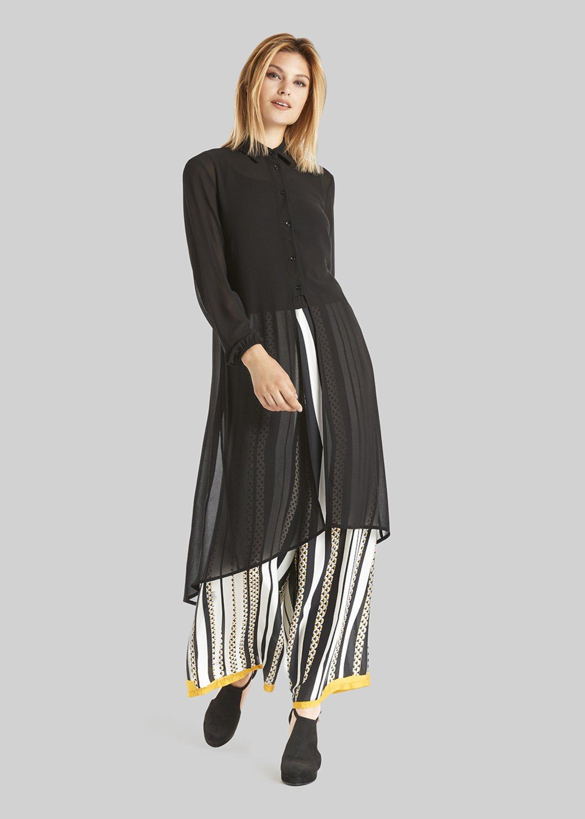 Camicia lunga Camelia in tessuto georgette