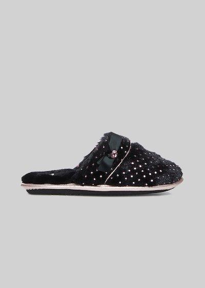 Pantofole Pitta con pois e dettaglio fiocco