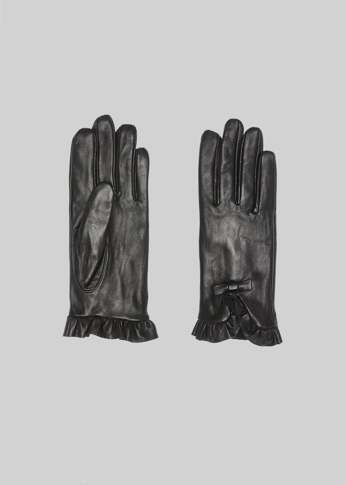 Guanti Galenia con rouches e fiocco - Black