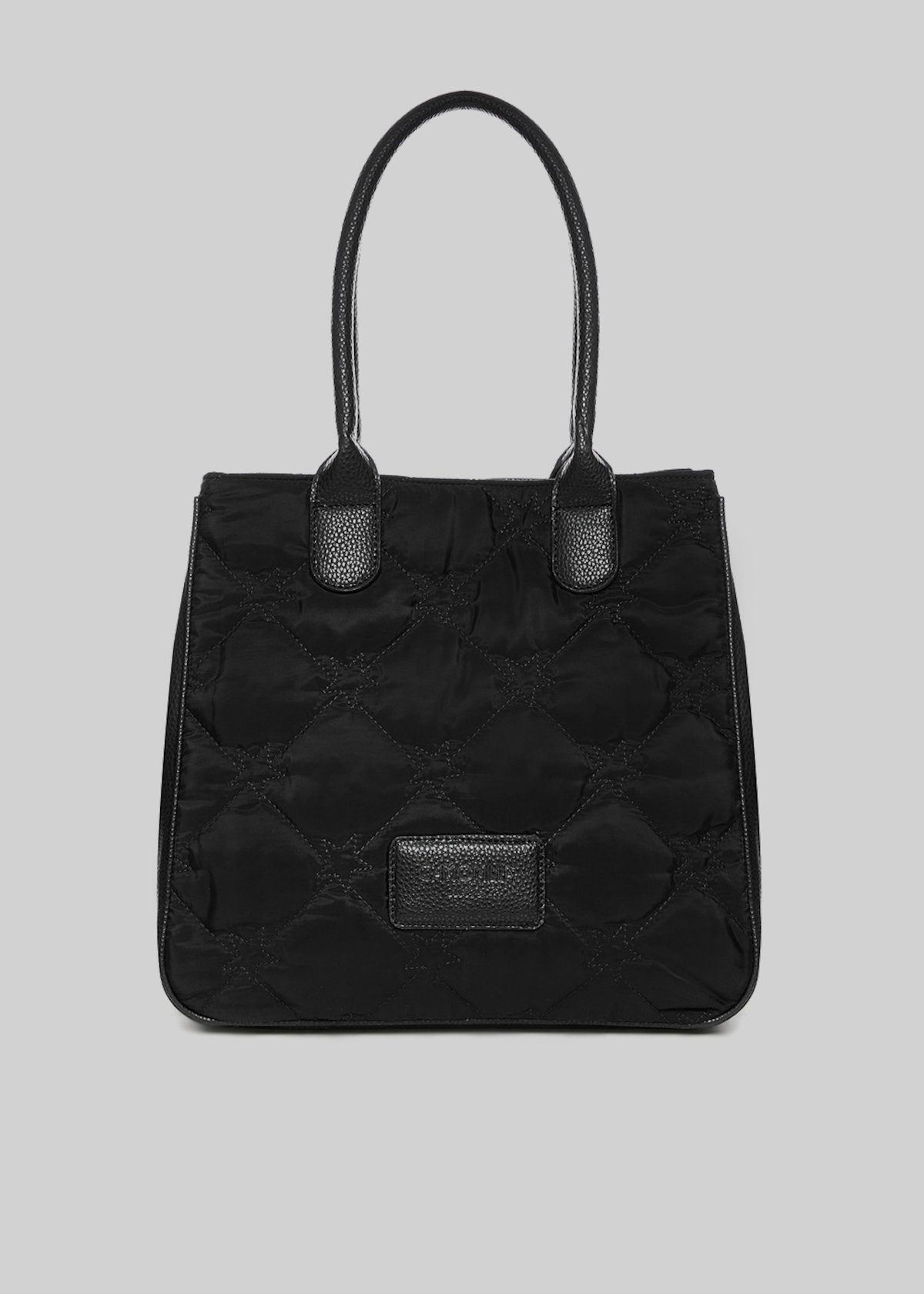Blammy shopping bag with faux leather handles - Black