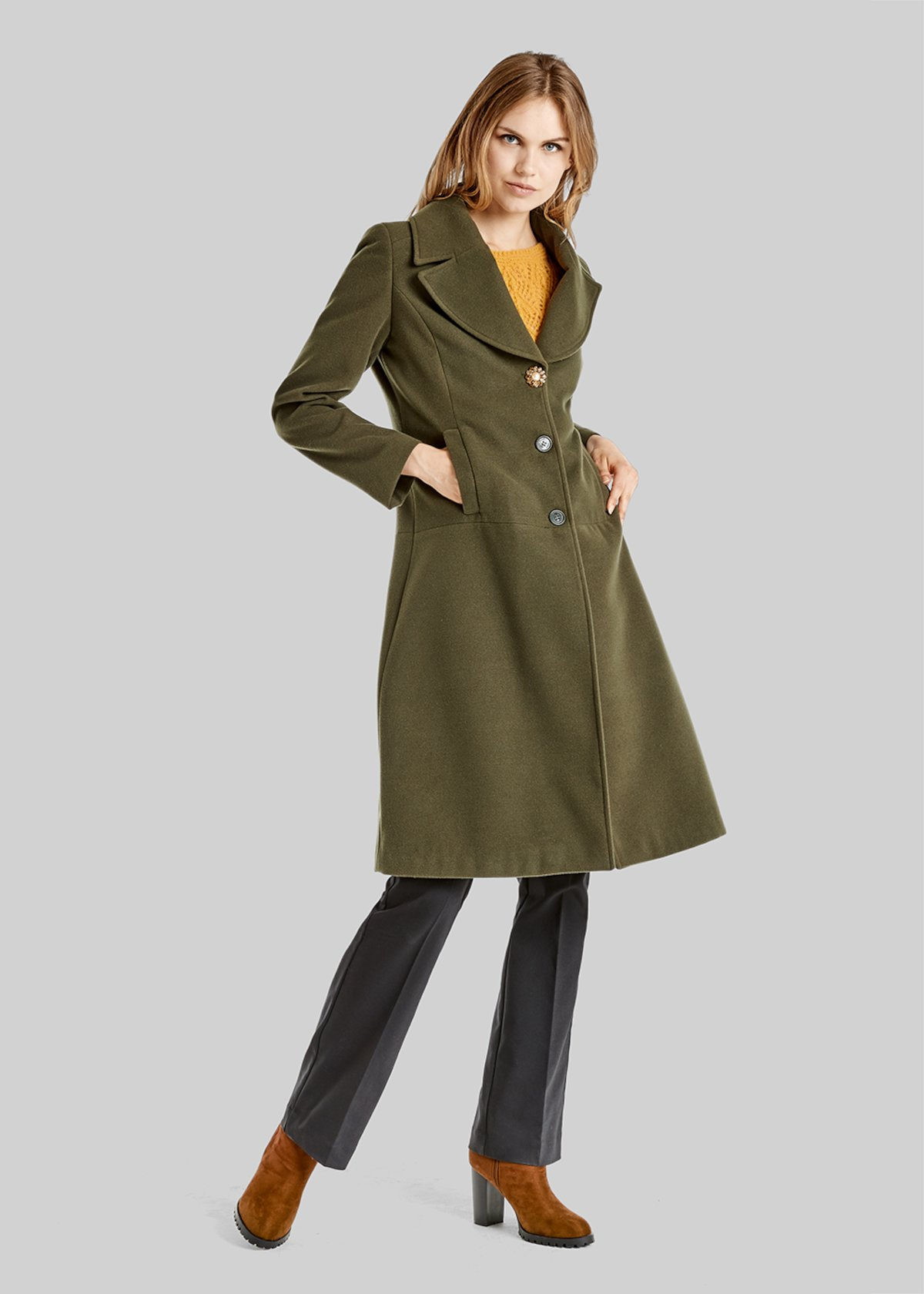 Constant long coat with jewel button detail