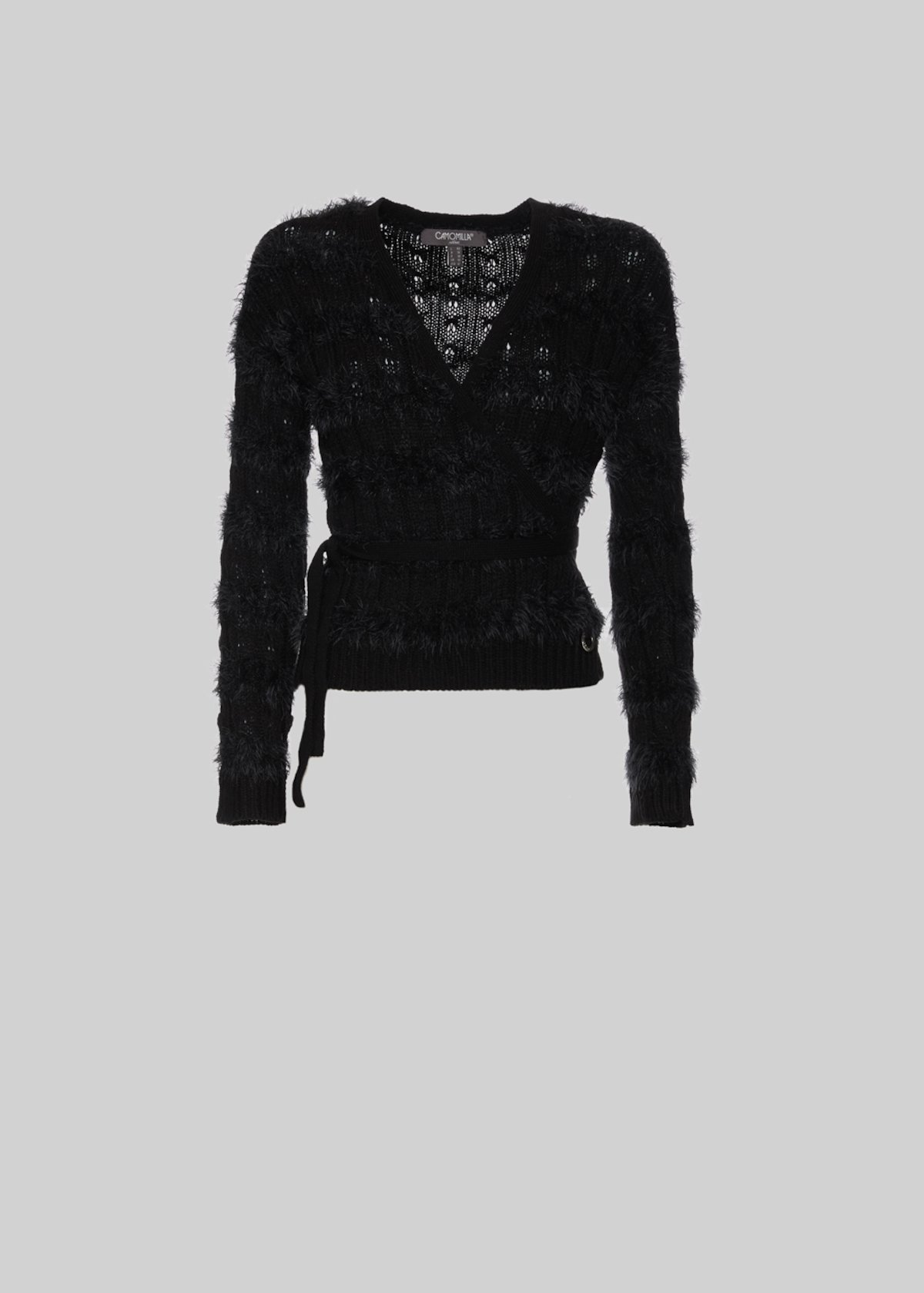 Caril Cardigan fur effect with criss-cross detail